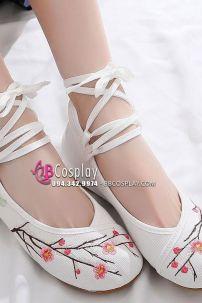 Giày Thêu Vải Hán Phục Cành Đào Cao 2.5cm Size 38