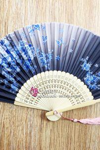 Uchiwa Quạt Vải Nhật Bản Hoa Hồng Xanh