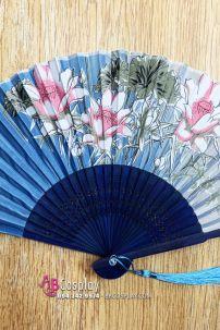 Uchiwa Quạt Vải Nhật Bản Sen Búp Nền Xanh