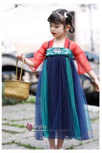 Hán Phục Trẻ Em Tiểu Hân - Áo Đỏ Váy Xanh Thêu Hoa 100-110