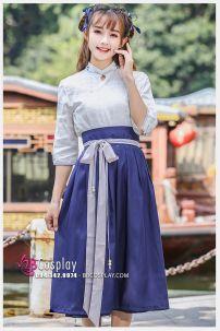 Hán Phục Cách Tân Áo Trắng Váy Xanh Mùa Thu Đông