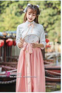 Hán Phục Cách Tân Váy Hồng Phấn