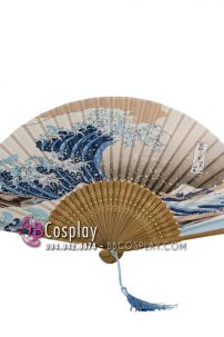 Quạt Nhật Cán Gỗ - Hoạ Tiết Sóng Biển
