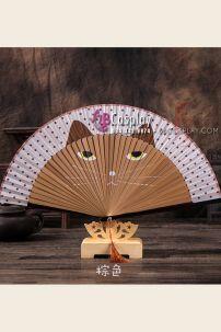 Quạt Gỗ Nhật Bản Uchiwa - Con Mèo Nâu Nhạt