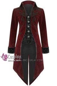 Tuxedo Gothic Halloween- Áo Vest Ma Cà Rồng Đỏ Đen