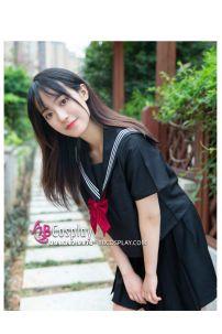 Đồ Seifuku Nữ Sinh Nhật Đen 3 Sọc Nơ Đỏ - Tay Ngắn