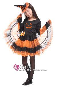 Trang Phục Phù Thủy Bí Ngô Halloween Trẻ Em