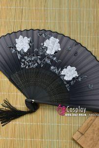 Uchiwa Quạt Vải Nhật Màu Đen - Hoa Mẫu Đơn Trắng