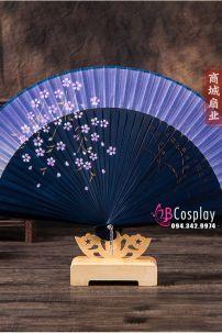 Quạt Vải Uchiwa Nhật Bản - Xanh Đậm Hoa Đào Nhí