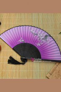 Uchiwa Quạt Vải Nhật Bản Màu Tím Cành Mai