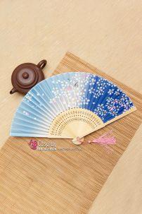 Uchiwa Quạt Vải Nhật Bản- Xanh Hoa Đào Trắng