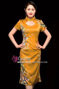 Sườn Xám Vàng Pha Cam Trung Thu Size S