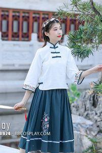 Hán Phục Cách Tân Áo Trắng Váy Xanh