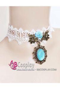 Vòng Cổ Lolita Ren Mặt Đá Xanh Sky Jasmine