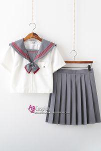 Seifuku Nữ Sinh Nhật Áo Trắng Cổ Viền Đỏ Có Túi Váy Xám