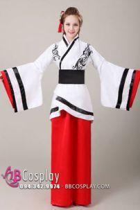 Cổ Trang TQ Nhà Tần Áo Trắng Váy Đỏ Viền Đen