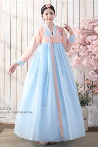 Hanbok Hàn Quốc Đẹp 2020 Áo Carot Vay Xanh
