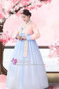 Hanbok Áo Carot Váy Xanh Trơn