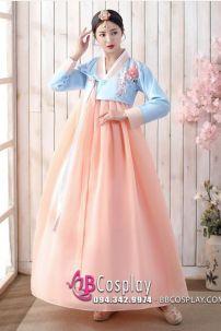 Hanbok Hàn Quốc Đẹp 2020 Áo Xanh Váy Carot