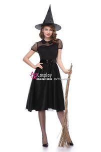 Đầm Phù Thủy Halloween Phong Cách Châu Âu