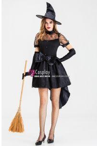 Váy Phù Thủy Nhện Đen Phong Cách Châu Âu Halloween
