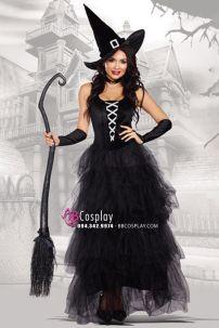Đầm Phù Thủy Bá Tước Đen Halloween