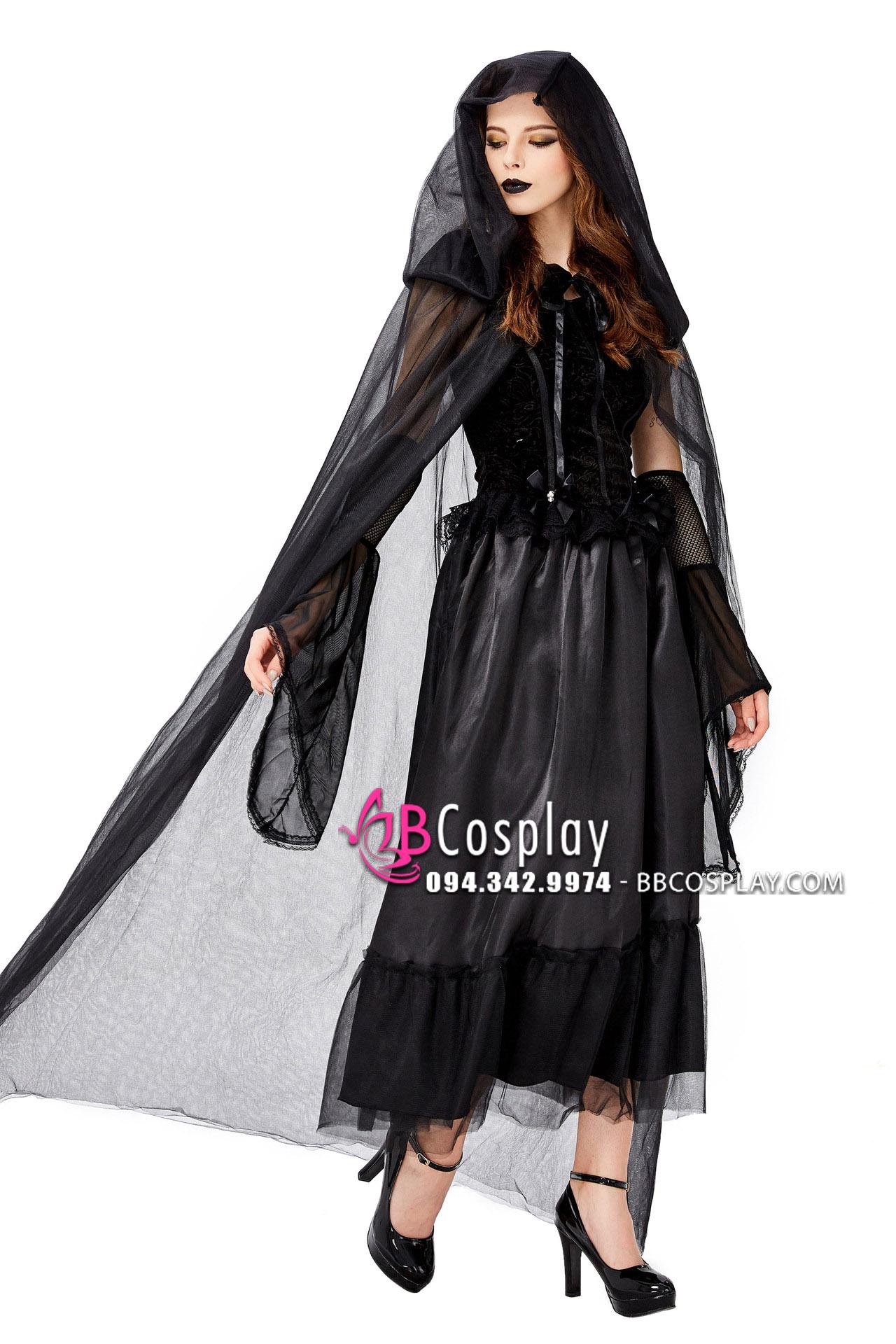 Đầm Cô Dâu Đen Kiểu Gothic