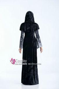 Đầm Đen Halloween Có Hình Sọ Oan Hồn Huyền Ảo