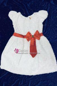 Đầm Noel Tuyết Trắng Vải Hoa Hồng Size Nhỏ Cho Bé Nhỏ