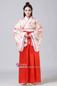 Cổ Trang Nhà Tần Áo Hoa Nền Da Viền Đỏ Váy Đỏ