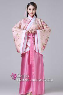 Cổ Trang Nhà Tần Áo Hoa Nền Da Viền Đỏ Váy Hồng