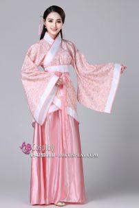 Cổ Trang Nhà Tần Áo Hoa Nền Da Viền Trắng Váy Hồng