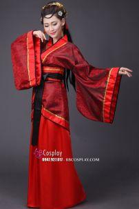 Cổ Trang Nhà Tần Áo Đỏ Họa Tiết Xoắn Đen Váy Đỏ