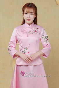 Váy Sườn Xám Cách Tân Mẫu Mới Hồng Phấn