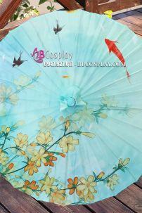 Dù Vải Cổ Trang Xanh Ngọc Hoa Mơ Và Cá Vàng (36)