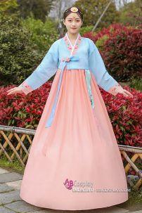 Hanbok Áo Xanh Váy Carot Viền Carot Thêu Hoa