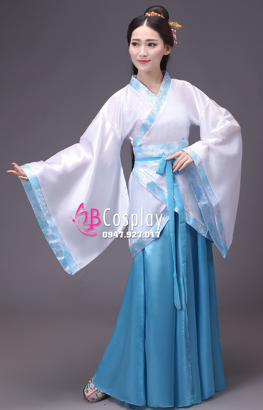 Cổ Trang Nhà Tần Áo Trắng Họa Tiết Váy Xanh 13765