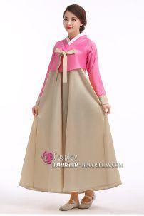 Hanbok Áo Hồng Váy Màu Vàng Đồng
