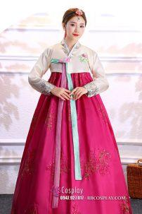 Hanbok Áo Kem Váy Hồng
