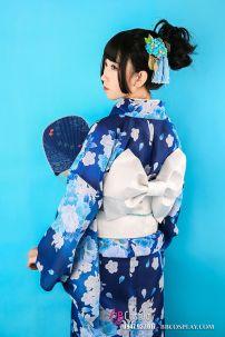 Kimono Yukata Xanh Hoa Trắng