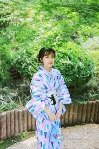 Yukata Tết - Xanh Aoi Obi Neko