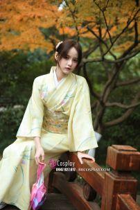 Yukata Vàng Lime Nhẹ Nhàng
