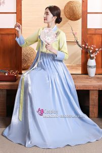 Hanbok Rũ Váy Xanh Áo Vàng Lime Mẫu Mới Vải Cao Cấp