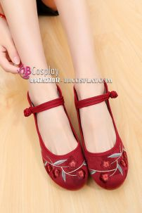 Giày Thêu Hoa Đỏ Cherry - Đế 4.5cm
