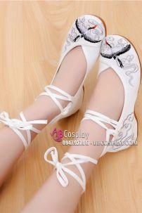Giày Thêu Hạc Màu Trắng Dây Cột Cao - Đế 3.5cm