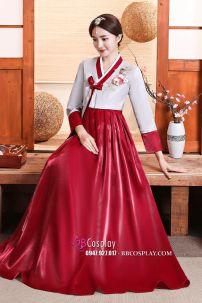 Hanbok Rũ Váy Đỏ Đô Mẫu Mới Vải Cao Cấp