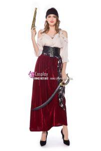 Đồ Nữ Cướp Biển Váy Dài Đỏ Nhung