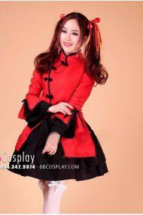Qiloli Đỏ Váy Đen Tay Bèo