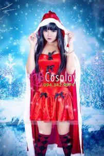 Đầm Noel Vải Phi Kèm Choàng