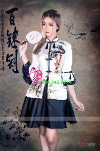 Qiloli 24 Áo Trắng In Hoa Váy Đen